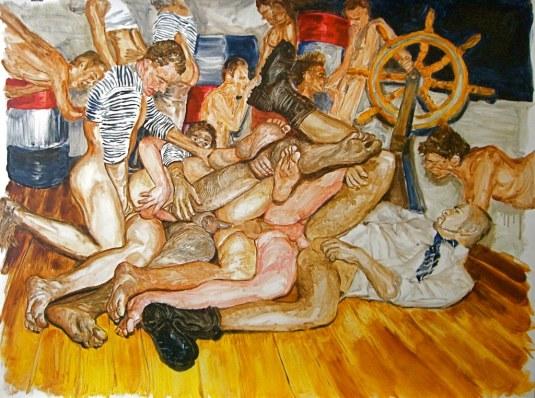 """Marineros Locos, 26"""" x 36"""", oil on paper, 2009"""